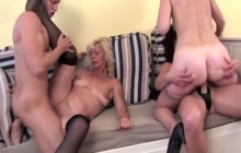 Strapon and a young guy for older sluts