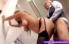 Sexy young chick fucked by an older fart