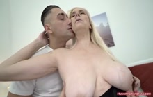 Granny with really big natural tits fucked hard