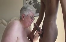 Big boobed grandma trying a young black penis