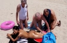 Kinky old men find a young slut on the beach