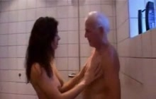 Fucking with old man under the shower