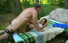 Cutie fucks old man in the woods