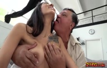 European beauty enjoys a fuck with a grandpa