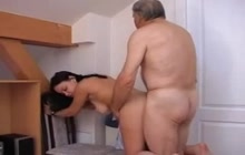 Slutty girl fucks with old man
