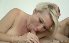 Busty blonde granny slammed by a guy half her age