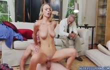 Two grandpas watching Molly Mae getting fucked