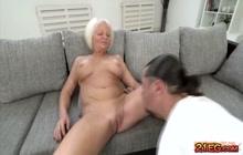 Hard cock makes granny orgasmic