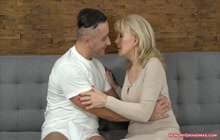 Gorgeous Blonde Grandma Fucked by a Stud