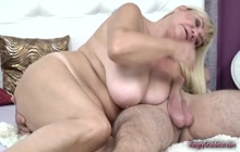 Granny with gigantic tits fucked really hard