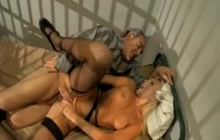 Super hot babes teasing and fucking old prisoner
