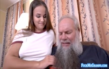 Teen with breathtaking body fucked by gramps