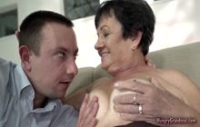 Busty granny can't resist fucking a big hard cock