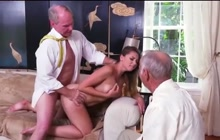 Young hottie with two old guys