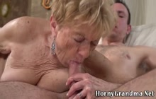 Busty granny gets oral and rides