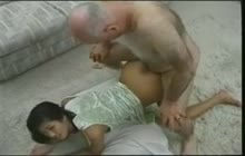Asian girl gives her ass to old man