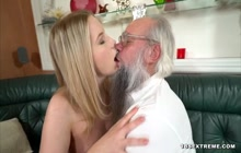 Blonde slut pleased by a dirty old man