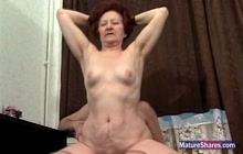 Horny old slut loves young cock