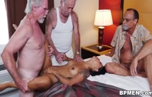 Nikki Kay pleasuring 3 old dudes