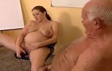 Preggo bitch fucking with a grandpa