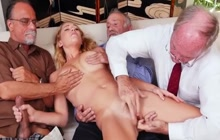 Teen Raylin Ann and old guys