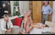 Young blonde spreading her legs for old cock