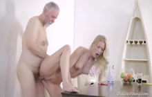 Sexy blonde seduces a horny old dude