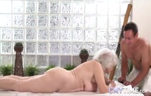 Gray haired granny sucking and fucking