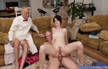 Nasty old grandpa banging Alex Harper's tight ass