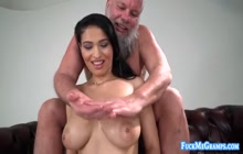 Horny grandpa enjoys fucking a hot busty babe