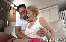Mature gilf sucks dick and gets fingered