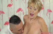 Granny is hungry for big cock and she fucks hard