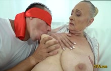 Granny with ginormous tits deflowered by a stud