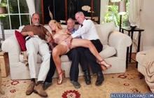 Three old men rubbing Raylin Ann's pussy