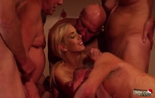Gorgeous little blonde gets gangbanged